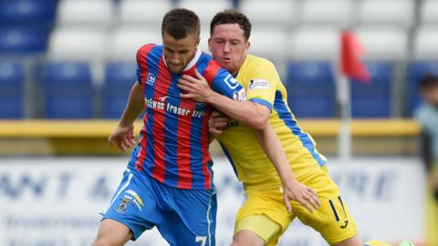 Inverness CT's Liam Polworth (left) battles with Danny Swanson