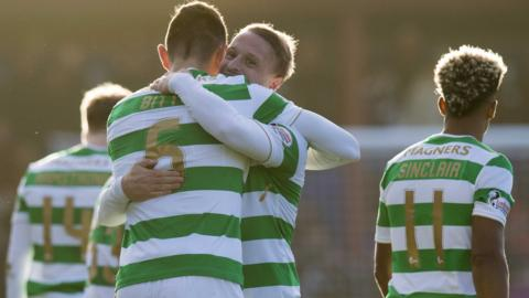 Celtic striker Leigh Griffiths celebrates