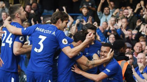 Pedro scores and Chelsea celebrate