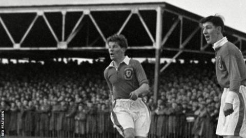 Wales players Noel Kinsey (left) and Roy Clarke in action against Northern Ireland in 1954