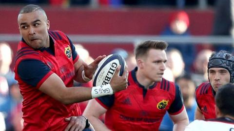 Simon Zebo eludes the Toulouse tackles to set up a Munster attack at Thomond Park