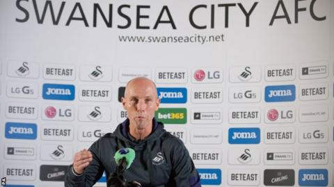 Bob Bradley at his first Swansea media conference