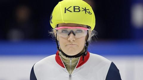 Elise Christie waits to competes in the 1000m at the Short-Track Speed Skating World Championships