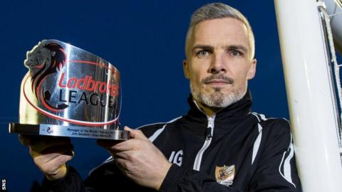 Alloa Athletic manager Jim Goodwin with his manager of the month award