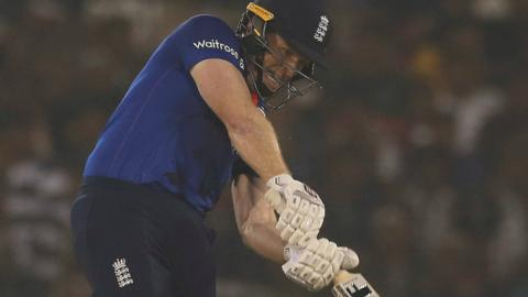 England captain Eoin Morgan plays a shot
