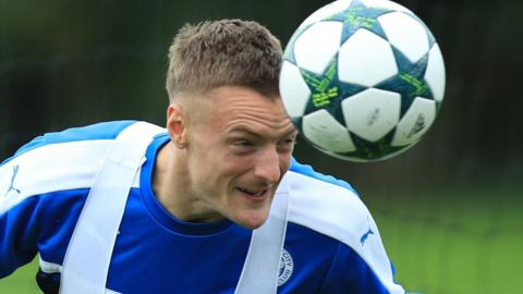 Leicester City's Jamie Vardy in training