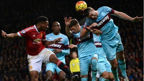 Anthony Martial and Andy Carroll in aerial combat during Man Utd and West Ham goalless draw in December.