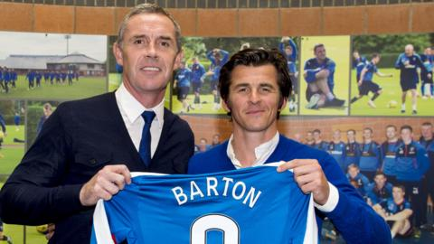 Joey Barton with Rangers assistant manager David Weir