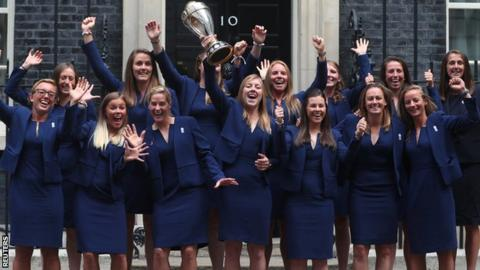 England women's team at Downing Street