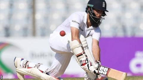 Moeen Ali in action in Chittagong