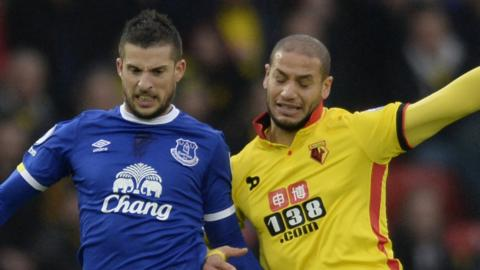 """Kevin Mirallas in action with Watford""""s Adlene Guedioura"""