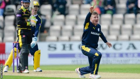 Hampshire leg-spinner Mason Crane takes a wicket against Gloucestershire