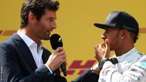 Mark Webber with Lewis Hamilton