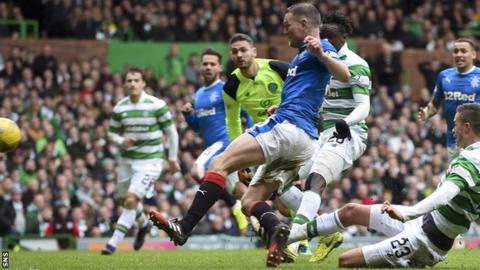 Rangers' Clint Hill fires the equaliser against Celtic