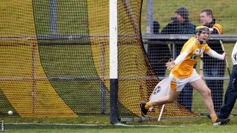 A delighted Saul McCaughan runs away in celebration after scoring a goal against Kildare on Sunday