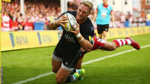 Alex Tait scores a try for Newcastle against Gloucester