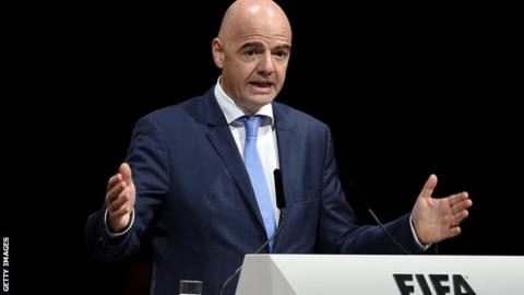 Gianni Infantino at the Fifa extraordinary congress in Zurich