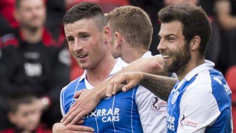 St Johnstone celebrate a goal from Michael O'Halloran (left)