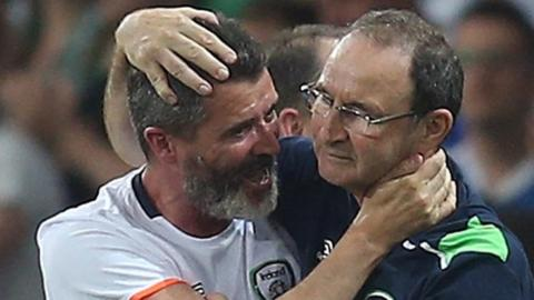 Roy Keane and Martin O'Neill embraced joyously after their team's win over Italy sealed a place in Euro 2016's knockout stages