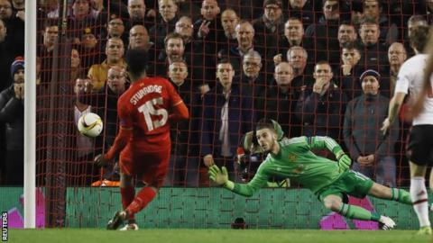 Daniel Sturridge scores against Manchester United