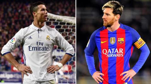 Real Madrid striker Cristiano Ronaldo and Barcelona striker Lionel Messi