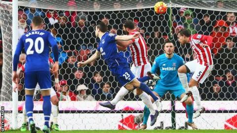 Seamus Coleman heads in a goal for Everton at Stoke