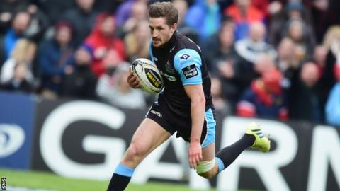 Henry Pyrgos scoring for Glasgow Warriors in the Pro12 final