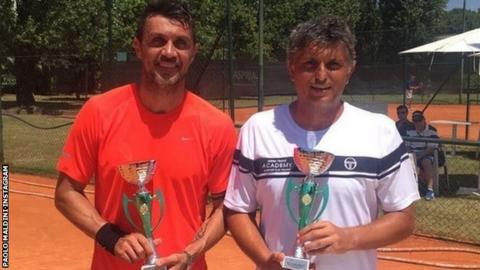 Maldini shared this image on Instagram of him and Landonio with their trophies for winning their qualifier