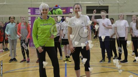 Judy Murray and Commonwealth badminton silver medallist Kirsty Gilmour at Peak Leisure Centre, Stirling