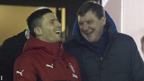 Rangers forward Michael O'Halloran and St Johnstone manager Tommy Wright share a laugh