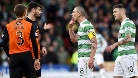 Dundee United and Celtic players