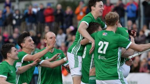 Ireland celebrate after winning the World League 2 tournament at Stormont
