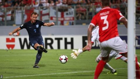 Harry Kane scores for England