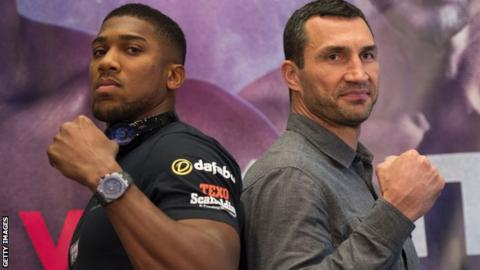 British heavyweight boxer Anthony Joshua (left) and Ukraine heavyweight boxer Wladimir Klitschko