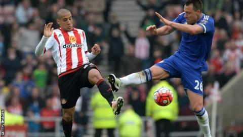 John Terry was shown his second yellow card for his foul on Wahbi Khazri