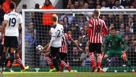 Christian Eriksen scores Tottenham's opening goal