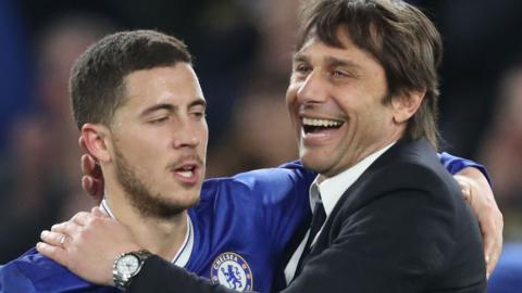Eden Hazard and Chelsea manager Antonio Conte