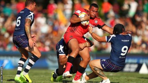 Sio Siua Taukeiaho kicked six goals for Tonga in the Cairns heat