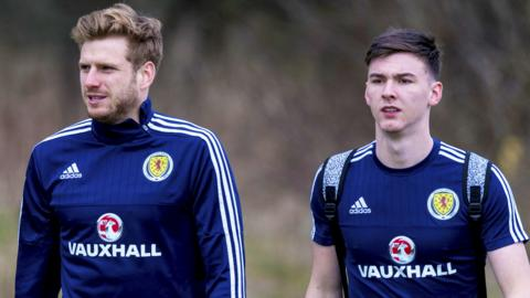 Stuart Armstrong and Kieran Tierney pictured in Scotland training