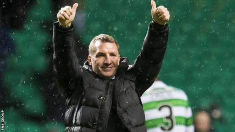 Brendan Rodgers salutes supporters after Celtic 12th consecutive league victory