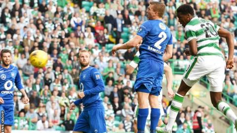 Celtic debutant Dedryck Boyata heads home the opening goal