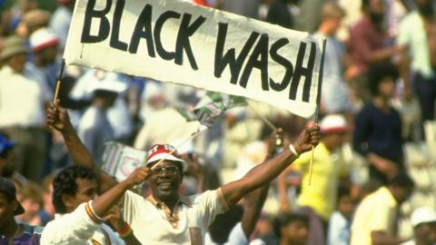 Blackwash banner from 1984 West Indies victory over England