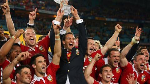 Sam Warburton celebrates the Lions' tour win in Australia