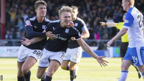 A-Jay Leitch-Smith celebrates scoring Dundee's second goal against St Johnstone