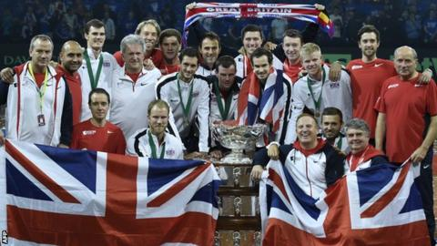 Great Britain with the Davis Cup trophy in 2015
