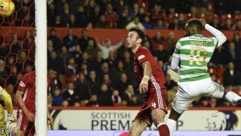 Celtic's Moussa Dembele scores against Aberdeen