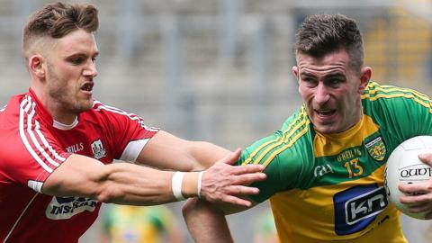 Cork defender Eoin Cadogan and Donegal's Paddy McBrearty