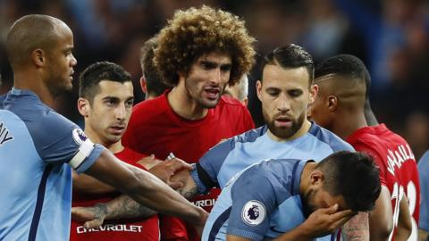 Manchester United midfielder Marouane Fellaini was sent off for headbutting Manchester City forward Sergio Aguero
