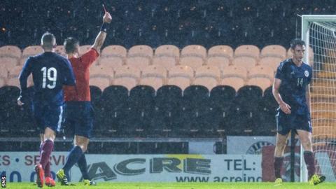 Scotland Under-21 defender Dominic Hyam is sent off