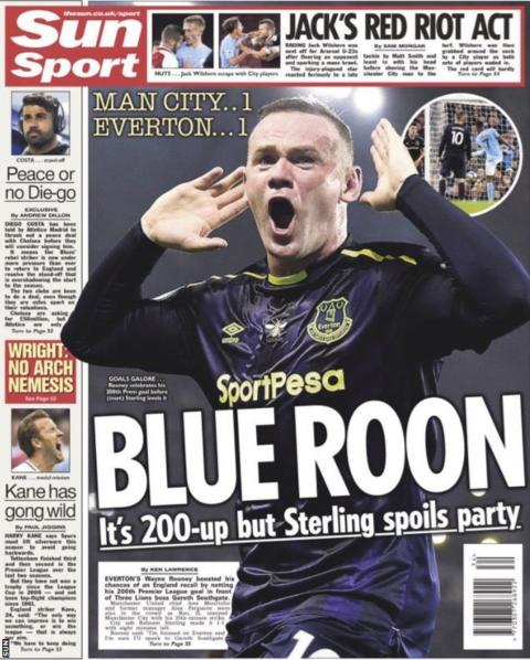 And the Sun also run with Rooney's goal for Everton against Manchester City on Monday night